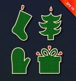 Grupo do ícone do vetor do Natal Coleção do vetor com Natal decorativo Imagens de Stock Royalty Free