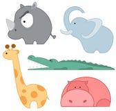 Grupo do ícone dos animais do jardim zoológico Imagem de Stock Royalty Free