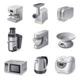 Grupo do ícone dos dispositivos de cozinha Fotografia de Stock