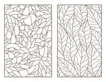 Grupo do contorno com ilustrações do vitral Windows com as folhas das árvores diferentes, esboços escuros no fundo claro Fotografia de Stock