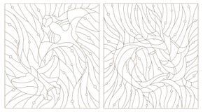 Grupo do contorno de ilustrações de raios do hammerhead e de manta dos peixes do vitral no fundo da bolha da água e de ar ilustração stock
