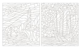Grupo do contorno de ilustrações do vitral dos seascapes, esboço escuro em um fundo branco ilustração do vetor