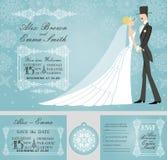 Grupo do convite do casamento do inverno Noiva de Rero, noivo, ilustração stock