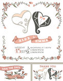 Grupo do convite do casamento do vintage Corações estilizados Fotografia de Stock Royalty Free