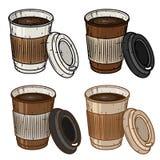 Grupo do copo de café de papel sobre o fundo branco Copo de café dos desenhos animados Imagem de Stock