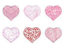 Grupo do coração do desenho da mão Foto de Stock Royalty Free
