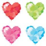 Grupo do coração do Splatter da cor Fotos de Stock Royalty Free