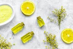 Grupo do cosmético do cuidado do corpo com zombaria da opinião superior de sal e de óleo acima fotos de stock royalty free