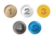 Grupo do crachá 1,2,3,4,5 Foto de Stock Royalty Free