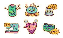 Grupo do crachá da costura, sinais lisos do estilo do projeto do kawaii bonito, ícones da costureira, ilustrações do vetor ilustração royalty free