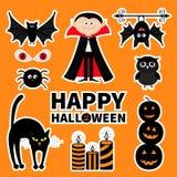 Grupo do crachá do remendo da etiqueta Conte Dracula, monstro, aranha, bastão, coruja, olho vermelho, vela Halloween feliz Texto  Imagens de Stock