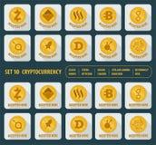 Grupo do cryptocurrency dez diferente em um fundo branco ilustração royalty free