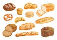Grupo do desenho da aquarela do produto do pão e da padaria ilustração royalty free