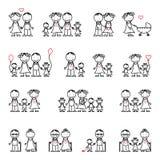 Grupo do desenho da família Imagem de Stock Royalty Free