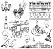 Grupo do desenho da mão de esboço de Veneza Fotografia de Stock Royalty Free