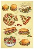 Grupo do desenho da mão de sanduíches ilustração stock