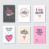 Grupo do dia de mães de cartões decorados com caligrafia bonito da rotulação Fotos de Stock Royalty Free