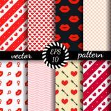 Grupo do dia de Valentim sem emenda dos testes padrões Papel de parede romântico Imagem de Stock