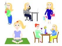 Grupo do dia a dia da mulher gravida de ilustrações do vetor Fotos de Stock Royalty Free