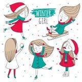 Grupo do divertimento da neve Foto de Stock Royalty Free