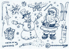 Grupo do doodle do Natal Imagem de Stock Royalty Free