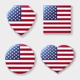 Grupo do emblema da bandeira nacional dos EUA ilustração stock