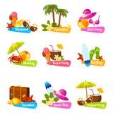 Grupo do emblema da praia ilustração stock