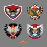 Grupo do emblema do exército Crânio e injetores Ilustração do vetor Imagens de Stock