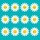 Grupo do grupo do emoji do ícone da camomila da margarida branca Personagens de banda desenhada engraçados do kawaii Coleção da e ilustração stock