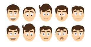 Grupo do emoji do homem ilustração stock