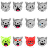Grupo do emoji do sorriso do gato Vetor liso do estilo do ícone do Emoticon Foto de Stock Royalty Free