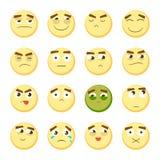 Grupo do Emoticon Coleção do emoji emoticons 3D Ícones da cara do smiley no fundo branco Vetor Fotografia de Stock
