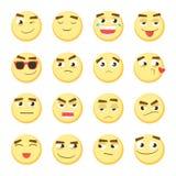 Grupo do Emoticon Coleção do emoji emoticons 3D Ícones da cara do smiley no fundo branco Vetor Foto de Stock Royalty Free
