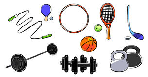 Grupo do equipamento de esporte Fotografia de Stock Royalty Free