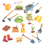 Grupo do equipamento dos jardineiro de objetos necessários para jardinar e cultivar ilustrações isoladas do vetor ilustração do vetor