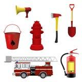 Grupo do equipamento dos sapadores-bombeiros Imagens de Stock
