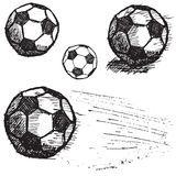 Grupo do esboço da bola de futebol do futebol isolado no fundo branco Foto de Stock