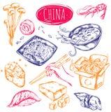 Grupo do esboço do alimento de China ilustração royalty free