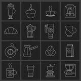 Grupo do esboço dos ícones do café Imagens de Stock Royalty Free