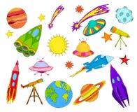 Grupo do esboço dos objetos do espaço colorido Imagens de Stock