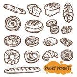 Grupo do esboço dos produtos da padaria Fotografia de Stock Royalty Free