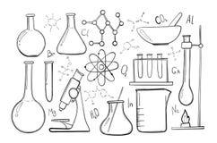 Grupo do esboço do equipamento de laboratório Química da ciência Microscópio, garrafas de vidro e tubos de ensaio Experiências qu Foto de Stock
