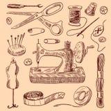 Grupo do esboço dos ícones da costura Foto de Stock Royalty Free