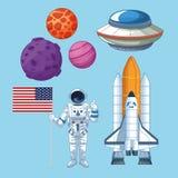 Grupo do espa?o e do astronauta de ?cones ilustração do vetor