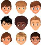 Grupo do expresion dos meninos Fotos de Stock