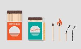 Grupo do fósforo e da caixa de fósforos Varas em blocos abertos do cartão Matchstick com enxofre, burning e queimado Vetor liso c ilustração do vetor