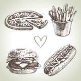 Grupo do fast food ilustração do vetor