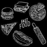 Grupo 1 do fast food ilustração stock