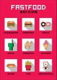 grupo do fast food de 8 bocados Pixel Art Vetora ilustração royalty free