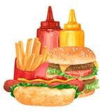 Grupo do Fastfood, cachorro quente, ketchup, mostarda, Hamburger, fies franceses ilustração stock